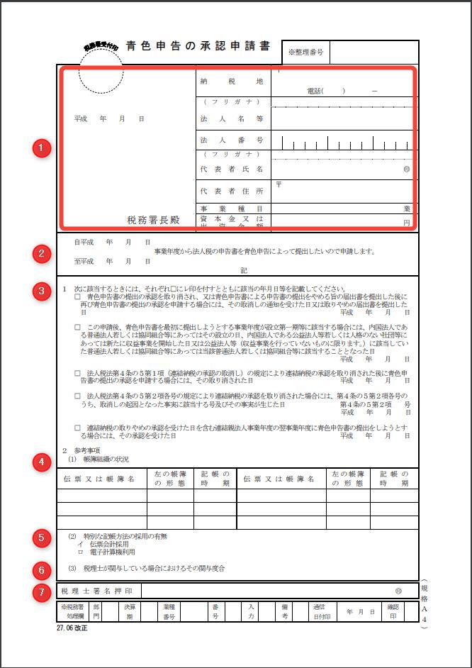 青色申告の承認申請書-税務署